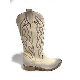 Women's Shoes Elite Texan Boot Embroidered In White Nabuk Leather Cream Ds20el07