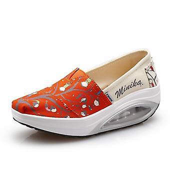 Minika Swing Shoes, Canvas Breathable Sports Platform Shoes