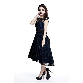 Chic Star Plus Size 1950s Full Swing Lace Dress In Navy