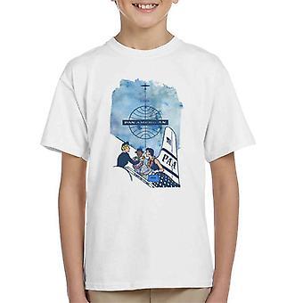 Pan Am Hostess Placing Rainbow Lei On Customer Kid's T-Shirt