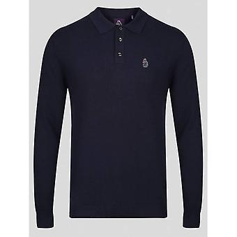 Luke 1977 Magnesium Long Sleeve Knitted Polo - Very Dark Navy