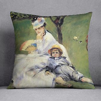 Camille monet and her son jean in the garden of argenteuil by renoir cushion