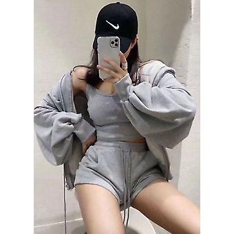 Zip Front Hooded Sweater Loungewear 3 Peças Set Cinza