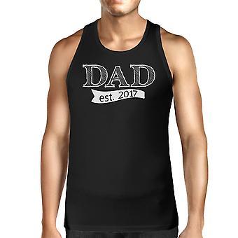Dad Est 2017 Herren schwarz einzigartige Grafik Tank-Top