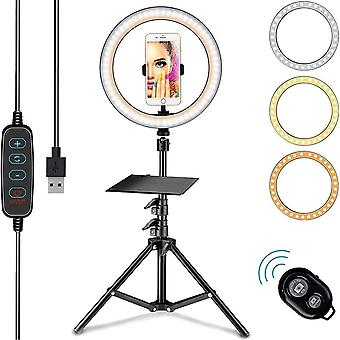 HanFei 26cm Selfie Ringlicht mit 68-186cm Stativ, Ringlicht mit 3 Farben und verschiedenen