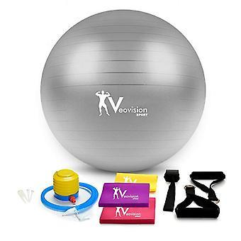 Gymbal Trainingsset - 75 cm met trekbanden & ringen - Fitnessbal