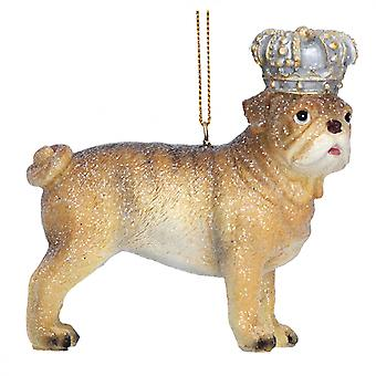 Gisela Graham Resin Bulldog with Crown Decoration
