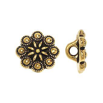 Bottone in metallo, design rosetta ceca 12mm, 2 pezzi, placcato oro antico, di TierraCast