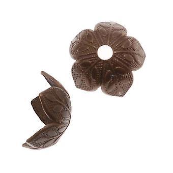 Vintaj Natural Brass 8x4mm Foliage Bead Caps with Leaf Design (6)