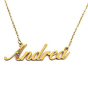 Kigu Andrea - Halsband med personligt namn, med zirkoner, guldpläterade