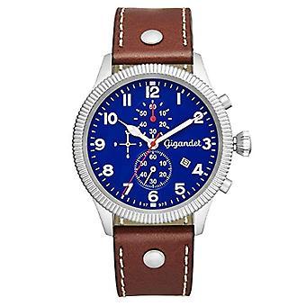 """rologio Gigandet""""Red Baron V» en acier inoxydable bracelet en cuir argenté brun G34-00"""