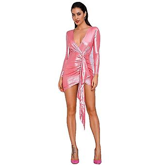 セクシーなピンクの深いVネックプリーツリボンスパークリングファブリックは、女性のための反射ドレスを出て行く