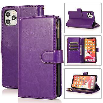 Flip folio leather case for iphone 12/12 pro purple pns-3861