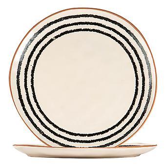 2x Ceramic Stripe Rim Dinner Plates Patterned Dinnerware 26cm Monochrome