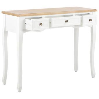 vidaXL pukeutumispöytä konsolipöytä 3 laatikkoa Valkoinen