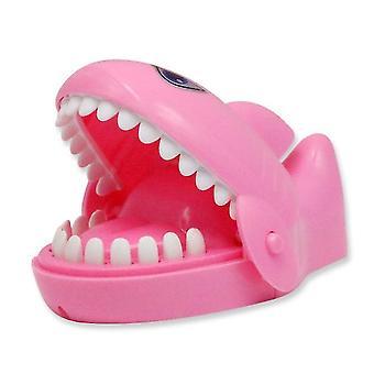 Pink tricky bite hand shark desktop decompression game toy x3582