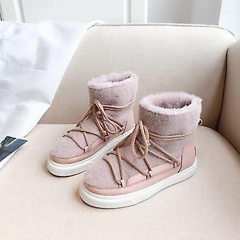 Wool Snow Boots, Winter Women's Flats Shoes