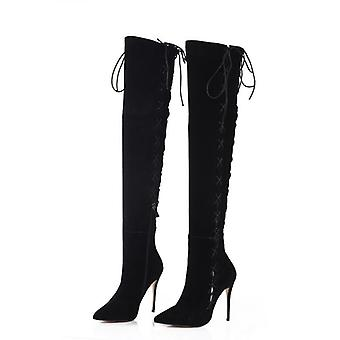 Genuine Leather Lace-up Thigh Boots, Sexy Booties
