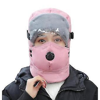 Talvi Läpinäkyvä Lasit Sumuneutin Ulkona UrheiluPyörä Lämmin Hattu Kelkka Moottoripyörä Lämmin hattu (Pinkki)