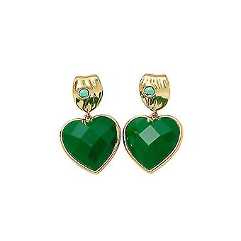 Earrings Peach Heart Green Alloy Zircon For Birthday Gift