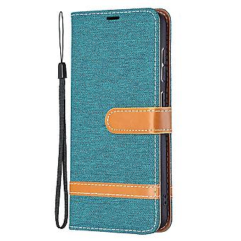 Folio Flip Cover Leather Case For Samsung Galaxy S21 Fe Green Jeans