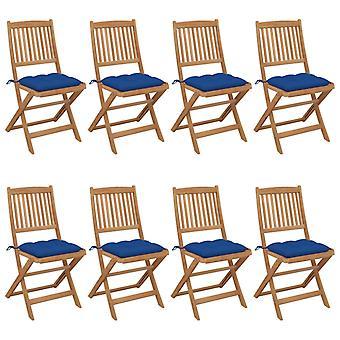 vidaXL Foldable garden chairs 8 pcs. with cushion solid wood acacia
