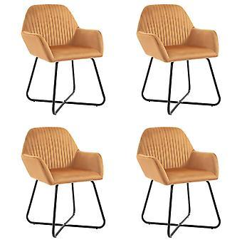 vidaXL dining chairs 4 pcs. ochre yellow velvet