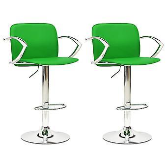 vidaXL Bar Stool 2 Pcs. Green Leatherette