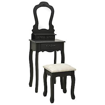 vidaXL dressing table set with stool Black 50x59x136 cm Paulownia wood