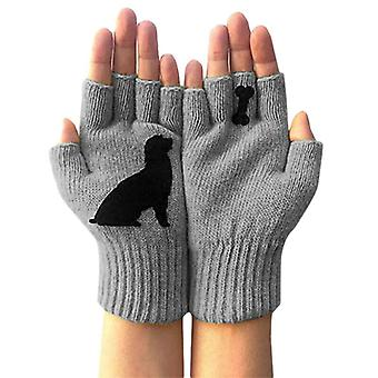 - Jag är grå. Unisex Hund Ben Lovely Tryckta Fingerless Handskar Utomhus Vinter Varma Vantar Nya