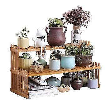 Desktop Flower Stand Mini Bamboo Small Flower Stand Office Storage Rack Window(GROUP1)