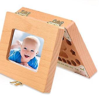 vauvan puinen säilytyslaatikko lehtihampaille, valokuvakehys taaperoille