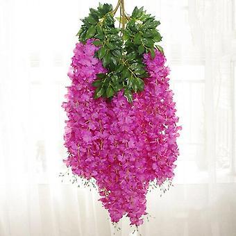12Pcs الوستارية الزهور الاصطناعية شنقا الروطان كرمة الروطان زهرة وهمية سلسلة الزهور لتزيين الزفاف حديقة المنزل