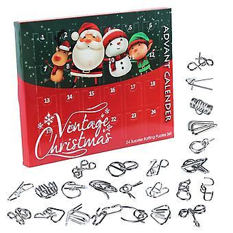 Metalldraht Puzzle Spielzeug AdventskalenderWeihnachts-Countdown-Kalender für Kinder| Rätsel