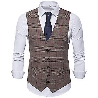 Homemiyn Cuello en V de hombre chaleco a cuadros Casual Slim Vest 3 Colores