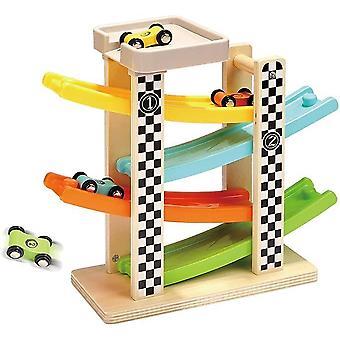 Rampe en bois Racer avec 4 mini voitures Jouets pour tout-petits pour enfants