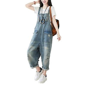 Woman Ripped Jeans Loose Overalls Demin Pants