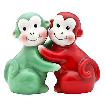 Red and Green Monkey Chimp Apes Hugging Salt Pepper Shakers Set