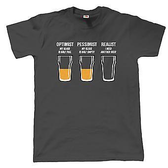 Realista cerveza vidrio hombres divertida camiseta, día de los padres regalo de cumpleaños para papá abuelo