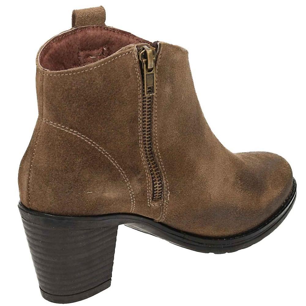 Jwf  Brown Suede Leather Block Heel Cowboy Chelsea Ankle Boots