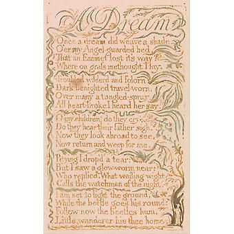 William Blake - A Dream Poster Print Giclee