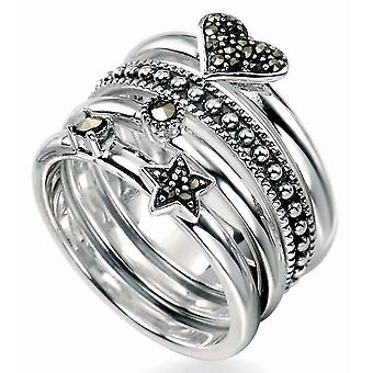 925 Silver Fashionable Marcasite Ring