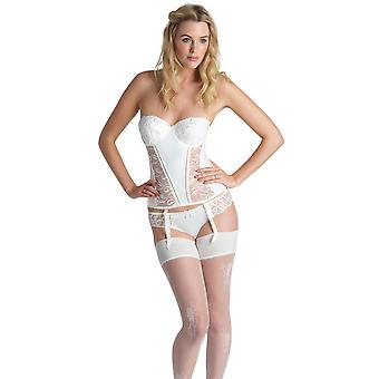 Womens Audelle Bouquet Ivory Sheer and Embroidered Lace Ladies Basque/Corset