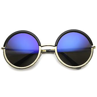 Круглый женские солнцезащитные очки с UV400 защитой зеркальные объектива
