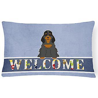 Cocker Spaniel Black Tan Welcome Canvas Fabric Decorative Pillow