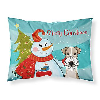 Snowman with Wire Haired Fox Terrier Fabric Standard Pillowcase