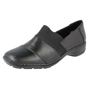 Sapatos de senhoras Rieker Flat 58355-00 - couro preto - UK tamanho 6 - UE tamanho 39 - tamanho US 8