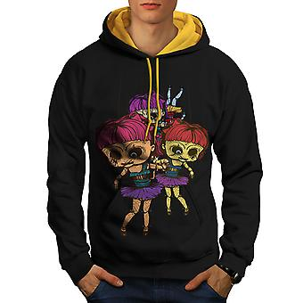 Doll Scary Creepy Horror Men Black (Gold Hood)Contrast Hoodie | Wellcoda