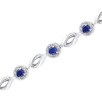 3.12 Carat (ctw) Lab Created Blue Sapphire Tennis Bracelet in Sterling Silver with Diamonds 1/10 Carat (ctw)