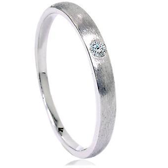 Diamant-gebürstete Promise Ring 14K Weissgold